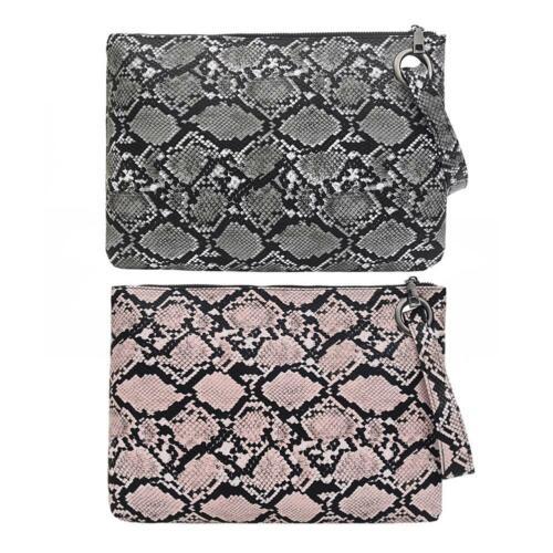 Snake Print Wristlet Clutch Women Money Phone Pouch PU Leather Coin Purse #S4