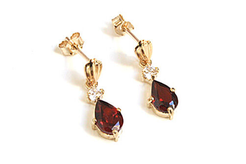 9ct gold Garnet and CZ Teardrop Dangly Earrings Made in UK Gift Boxed