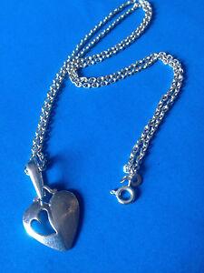 Collier-Chaine-Pendentif-Argent-925-Coeur-Sterling-Heart-Pendant