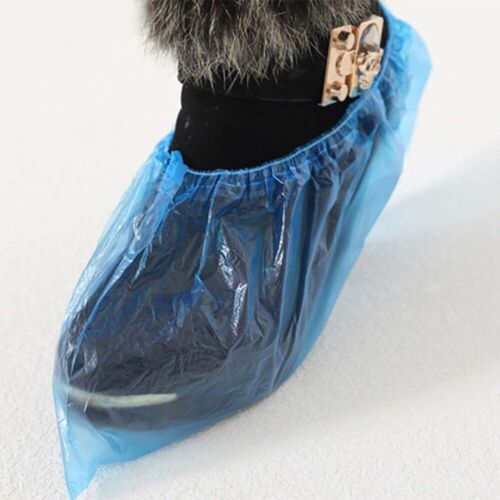 100 PCS Boot Cover Plastic Disposable Shoe Covers Overshoes Medical Waterproof
