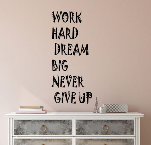 Vinyl Wall Decal Stickers Motivation Quote Words Work Hard Dream Big 2610ig