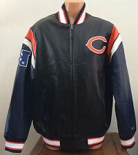 Mens Large L NFL Chicago Bears Full Zip Leather-Look Varsity Jacket Coat Blue