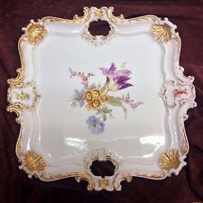 """Antique Meissen Hand Painted Floral Guilded porcelain Tray 16"""" - Crossed Swords"""