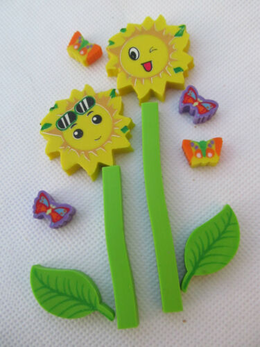 PACK OF SUNFLOWERS /& BUTTERFLIES KAWAII JAPANESE STYLE NOVELTY ERASERS RUBBERS