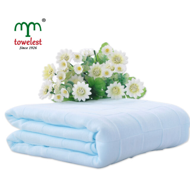 Ultra Soft Blue Muslin Cotton Baby Blankets Comfortable Bath Wrap Breathable New