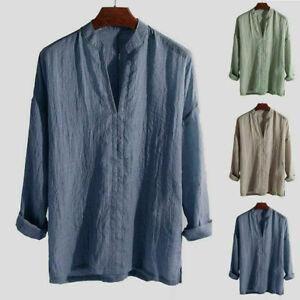 New-Men-039-s-Summer-Blend-Long-Sleeve-Shirt-V-Neck-Shirts-Tops-Solid-Loose-Casual
