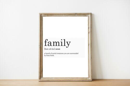 FAMILY DEFINITION PRINT FAMILY GIFT BLACK WHITE A4 HOME PRINTS DECOR