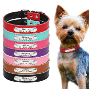 leather personalized dog collar tag cat name plate free engraving 7