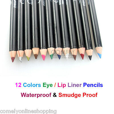 12pcs Lots Glitter Lip liner Eye Shadow Eyeliner Pencil Pen Cosmetic Makeup Sets