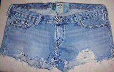 HOLLISTER HCO Destroyed Blue Cotton Denim Cut off Mini Short Shorts 5 Junior