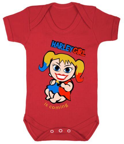 Harley Quinn Mädchen Body Strampler Spielanzug Geschenk Kostüm 100/% Cotton 0-24