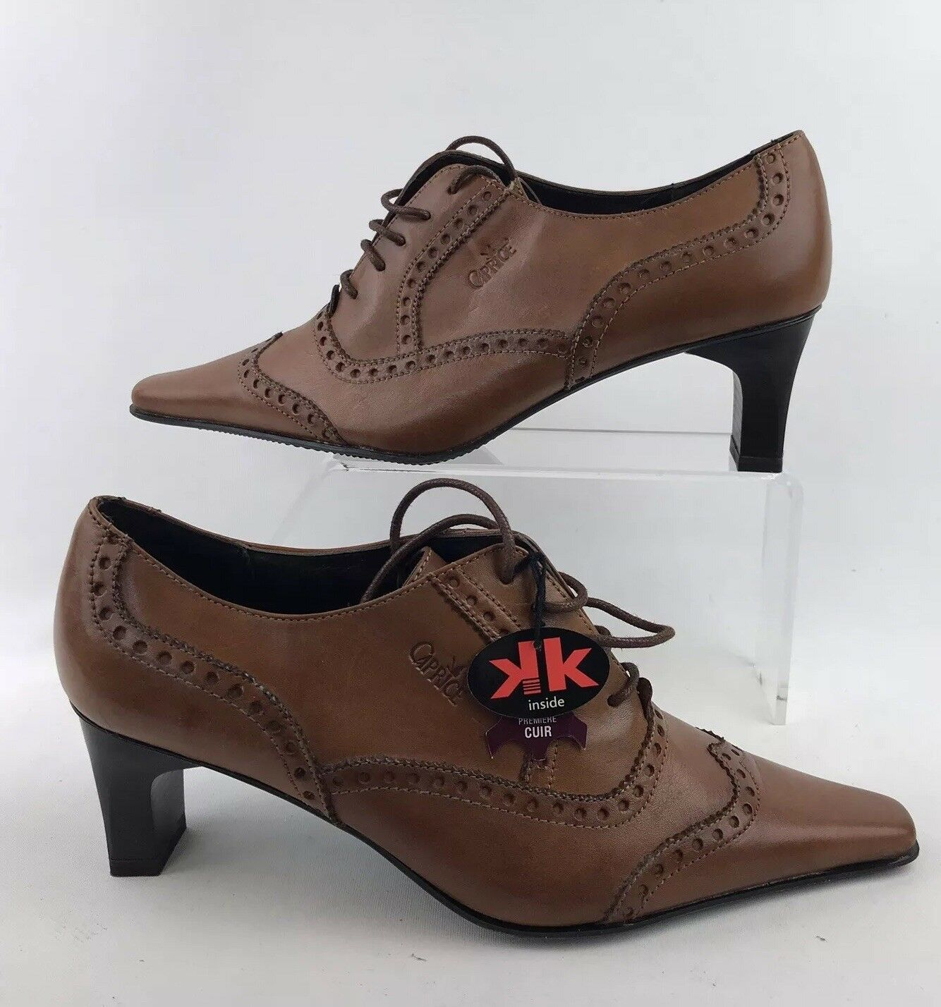 CAPRICE Taille UK 6 marron Tan Brogues Style Heel chaussures Anti Shock BNIB