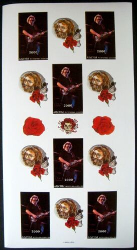 2000 MNH ABKHAZIA JERRY GARCIA IMPERF STAMPS SHEET ROCK MUSICIAN GRATEFUL DEAD