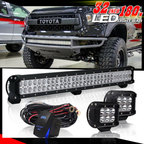32inch 180W DUAL Row LED Light Bar Flood Spot Beam 6000K Power FOR Jeep SUV