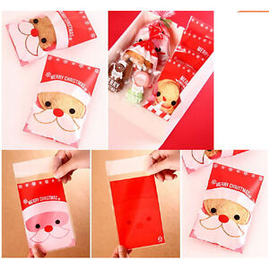 100Pcs-Christmas-Santa-Cellophane-Party-Treat-Candy-Biscuits-Gift-Bags-IY