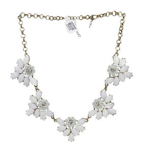Beautiful new gold tone rhinestone flower statement necklace nwt image is loading beautiful new gold tone rhinestone flower statement necklace mightylinksfo