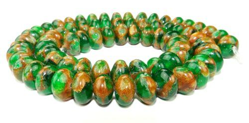 Jade Komposition Rondelle 5x8 mm Grün m. goldenem Schimmer Perlen JADE-16