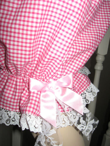 Long Pink Bloomers Lolita Lace Gothic New Check Sissy Pantalone Gingham White Rc1xZ