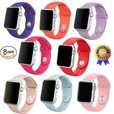 Replacement Sports Silicone Strap Band For Apple Watch iWatch 38mm S/M 8Pack USA