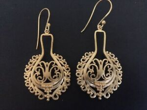 18K-Gold-on-Sterling-Silver-Disc-Earrings-Filigree-Circle-Teardrop-Ethnic-Indian