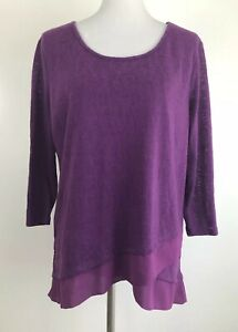Skies-are-Blue-Womens-XL-Pullover-Sweater-Purple-Kendruh-Layered-Hem-Stitch-Fix