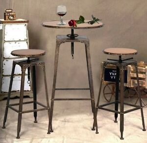 indoor bistro set table and chairs bar height dining stools industrial