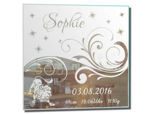 Motivspiegel Baby Geburt Löwe ★ Geschenk ★ Taufe ★ Sternzeichen ★ Geburtstag
