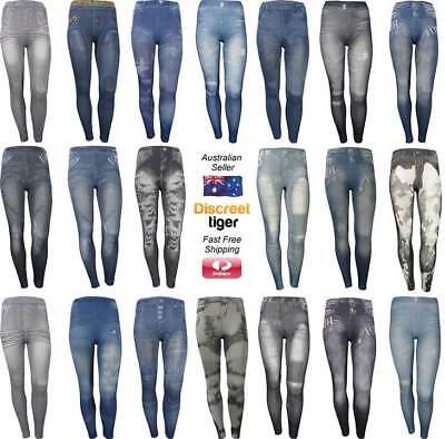 Jeggings Jeans Denim Print Leggings Designer Hot Fitted Yoga Pants Activewear Ebay