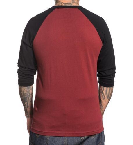 Sullen Clothing Grinders Burgundy Black Adult Mens T Tee Shirt Raglan SCM1296
