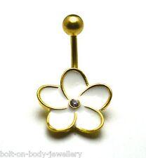 Vergoldet Weiß Emaille Gänseblümchen-blume Nabel Bauch Stange