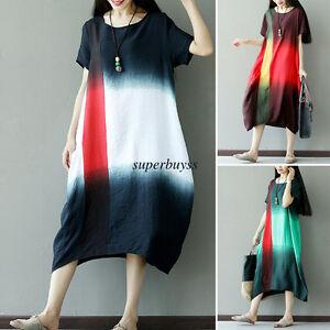 c8057b9921 Retro Women Cotton Linen Oversize Kaftan Gown Loose Casual Long Maxi ...