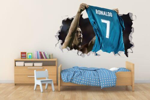 Cristiano Ronaldo Wall Hole 3D Decal Vinyl Sticker Room Smashed Cr7 01 Soccer