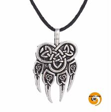 Silver Norse Bear BJÖRN BJARNI Paw Claw Pendant Necklace Unisex Viking Pagan  a1