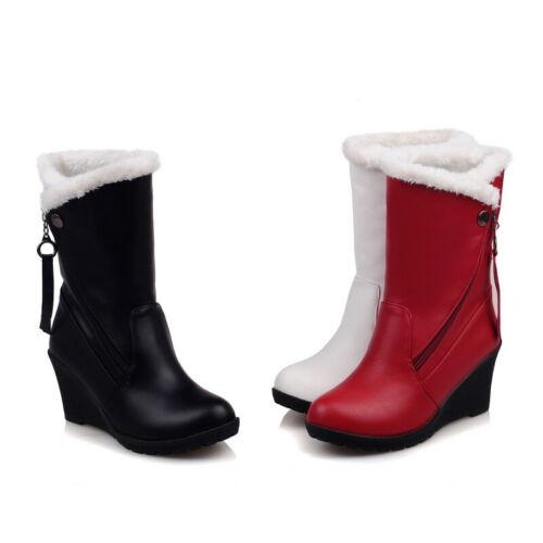 Winter Fell Gefüttert Keilabsatz Damen Wadenhohe Stiefel Rund Schuhe 49 50 51 52