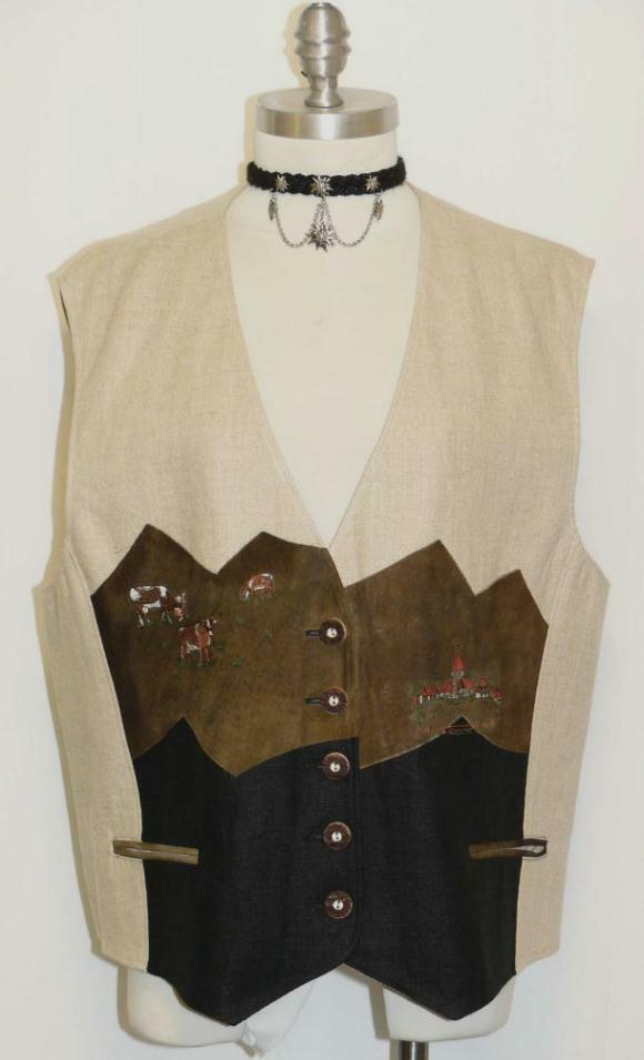 LINEN Designer AUSTRIA Women Ranch Skirt VEST 46 14 L