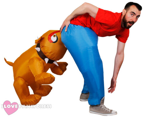 INFLATABLE DOG BITE COSTUME ADULT NOVELTY FANCY DRESS POSTMAN STAG PARTY