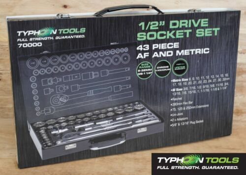 "Lifetime Warranty TYPHOON TOOLS 1//2/"" Drive Socket Set 43 Piece AF /& Metric"