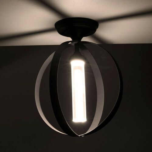 RV Decorative Rustic Iron Ring Enclosed Pendant Sphere Ceiling Light 12V LED 2pk