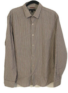 Banana-Republic-Slim-raye-a-Manches-Longues-Boutonne-Chemise-Homme-Taille-L