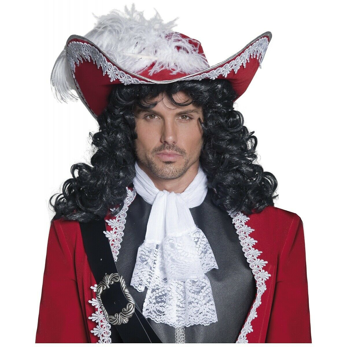 One Size Black Smiffys Pirate Captain Wig Male