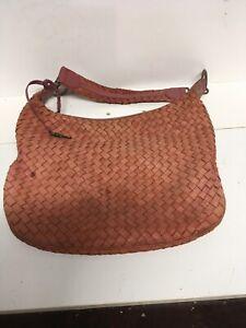DONNA-DIXON-Braided-Leather-Purse-Handbag-15w-X-11h-5-Inside-Compartments