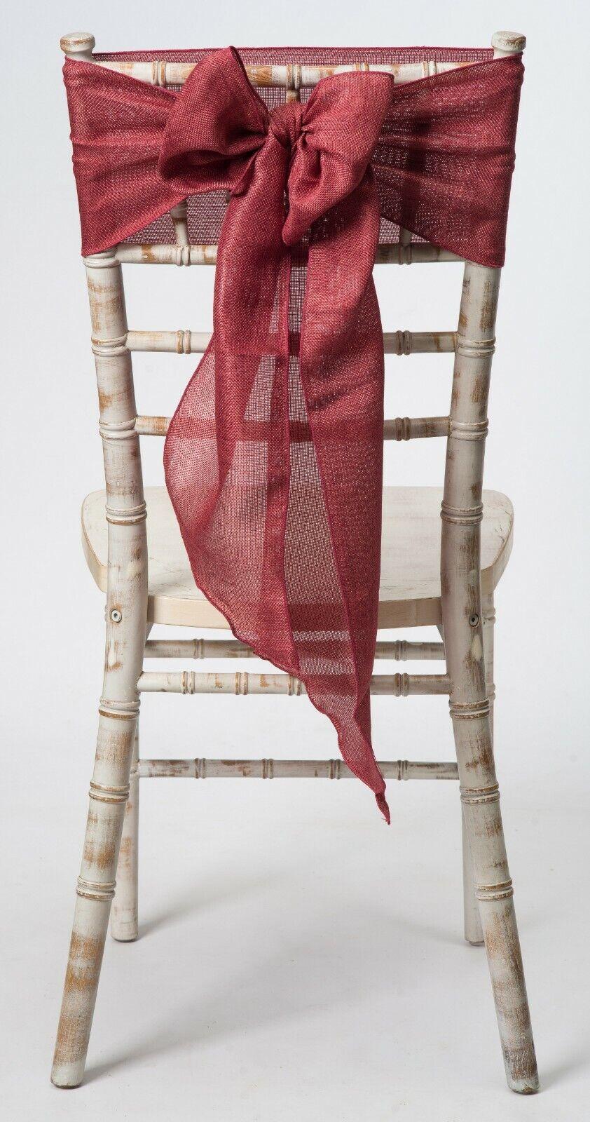 Rust rot Linen Wedding Chair Sash, 1,10,25,50,100