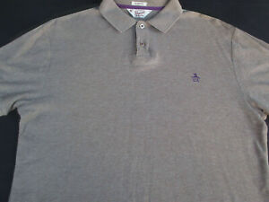 Penguin-Mens-Pullover-Knit-Short-Sleeve-Cotton-Beige-Logo-Polo-Shirt-Medium-M
