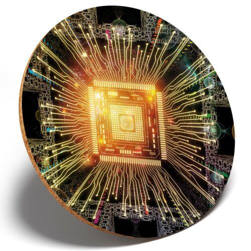 Round Coaster Kitchen Student Kids Gift #2578 1 x Glowing CPU Computer Chip
