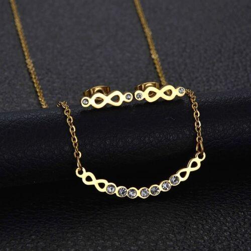 Schmuckset señora acero inoxidable collar aretes Infinity oro Stainless Steel