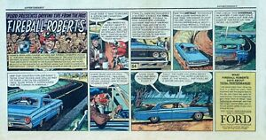 Fireball Truck Sales >> Details About Fireball Roberts 1964 Ford Auto Ad Color Sunday Comic Page Jack Davis Art