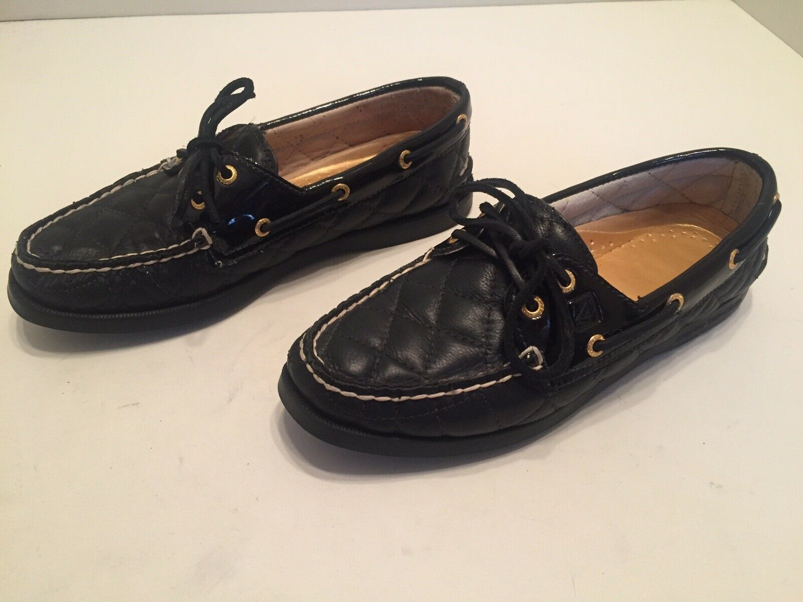 Sperry Top Sider Boat Shoes Black Quilted Leather Moc Toe Women's Size 6.5 M