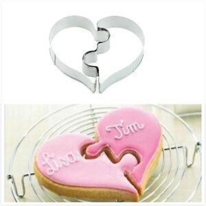 2x-Love-puzzle-Metal-Cutter-moule-pour-DIY-gateau-de-mariage-patisserie-H