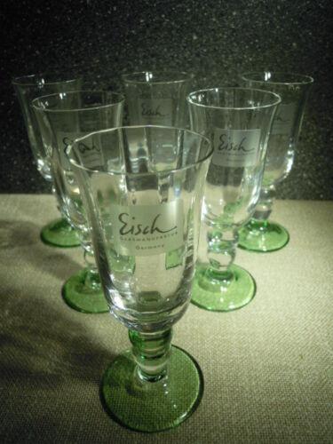 unbenutzt hochwertiges Glas mit grünem Fuß Eisch Castello 548//4,5 6x Grappa