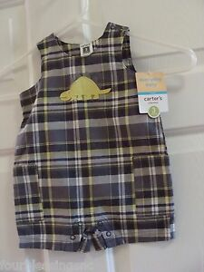 e5304dc5f CARTER S BOYS SIZE 3 MONTHS ONE PIECE SPRING SUMMER PLAID ROMPER-NWT ...